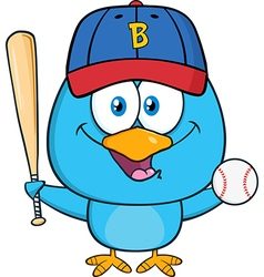 Cute Baseball Playing Bird Cartoon vector image