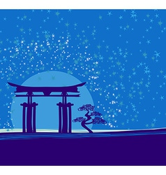 Japan gate in midnight with moon vector image