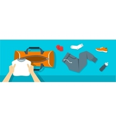 Man puts fitness stuff into sport bag banner vector