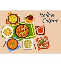 National italian cuisine menu dishes vector image vector image