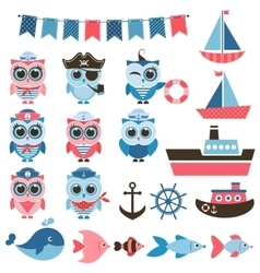 sailor owls fish and water transport vector image vector image