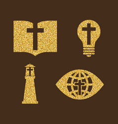 set of christian symbols from gold vector image
