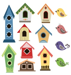 Abstract birdhouse set with birds vector image vector image