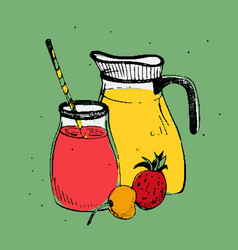 cold drinks with fruits and berries jar and glass vector image