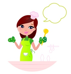cooking woman vector image vector image