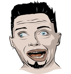 crazy face vector image