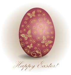 floral Easter egg background vector image