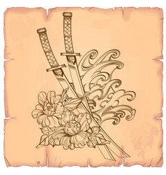 in japanese style of flower with katanas on the vector image vector image