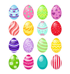 set of color easter eggs with vector image vector image
