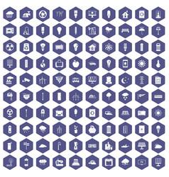 100 windmills icons hexagon purple vector