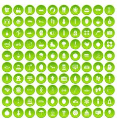100 woman sport icons set green circle vector