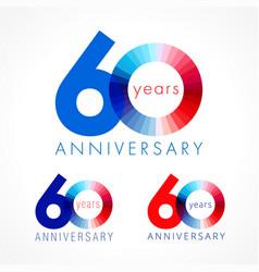 60 anniversary red blue logo vector
