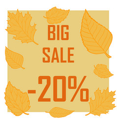 a discount of twenty percent surrounded by autumn vector image
