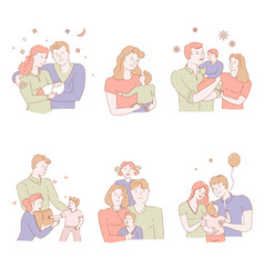 Adoption of orphan or child in family pastel vector