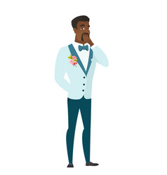 african groom thinking vector image
