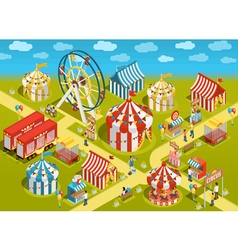 Amusement Park Circus Attractions Isometric vector