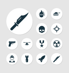 Army icons set collection of bombshell cranium vector