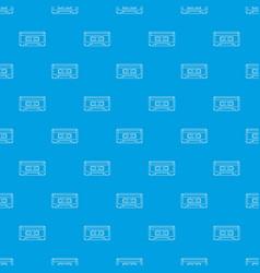 audio cassette pattern seamless blue vector image