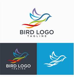 beautiful flying bird logo design vector image