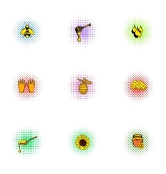 Beekeeping farm icons set pop-art style vector