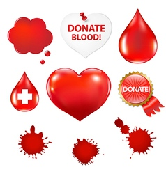Big Set With Blood Drop And Heart vector