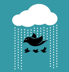 Birds flying in the sky when it rains vector