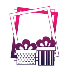 birthday gift boxes and frame celebration vector image