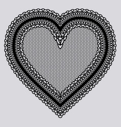 Black lace tenderness heart embroidery chic doily vector