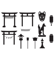 Black silhouette traditional object in japan vector