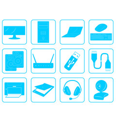 Blue goods icons of computer online store vector