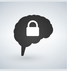 brain lock brain security logo design isolated on vector image