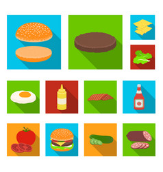 burger and ingredients flat icons in set vector image