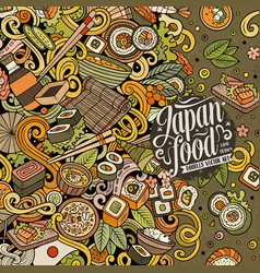cartoon color hand-drawn doodles japan food frame vector image