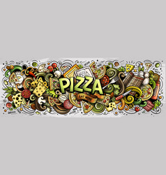 Cartoon cute doodles pizza word vector