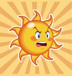Character sun angry with striped background vector