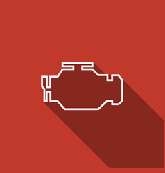 Check engine icon isolated with long shadow vector