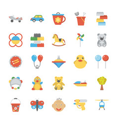 Children and kids flat icons set vector