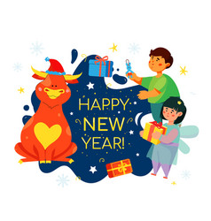 children celebrating new year 2021 - colorful flat vector image