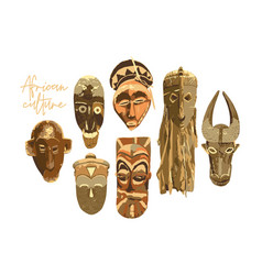 Collection african woodenn ritual masks vector