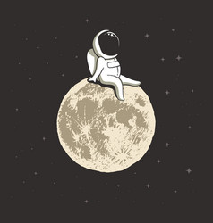 Cosmonaut on moon vector