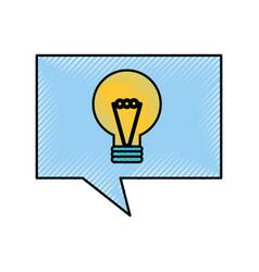 creativity speak bubble and idea bulb light vector image