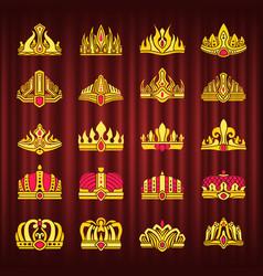 crown monarch power symbol monarchy corona set vector image