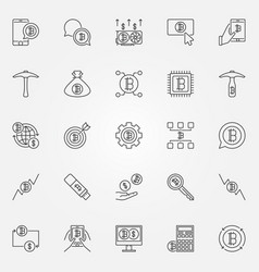 Cryptocurrency line icons set - digital vector