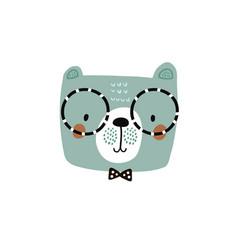 Cute bear face in glasses childish print for vector