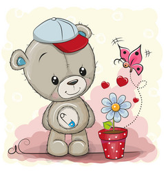 Cute cartoon teddy bear with flower vector