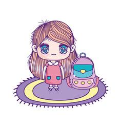 Cute little girl cartoon with school bag in carpet vector