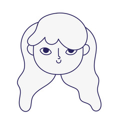 Cute little girl face character cartoon icon line vector