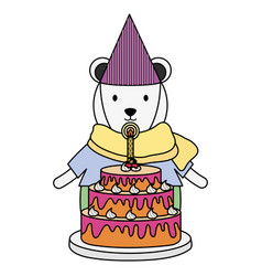Cute polar bear with sweet cake in birthday party vector