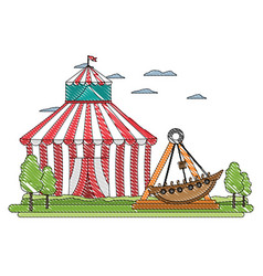 Doodle funny mechanical ship carnival game vector