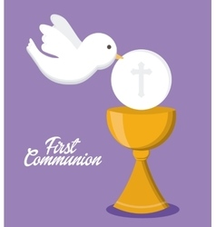 Dove cup gold religion icon graphic vector